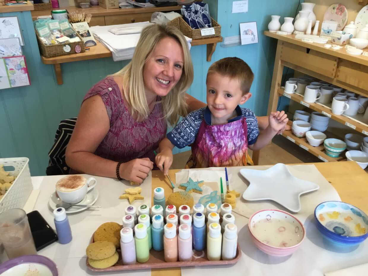 mum-and-son-painting-pottery-star-plate