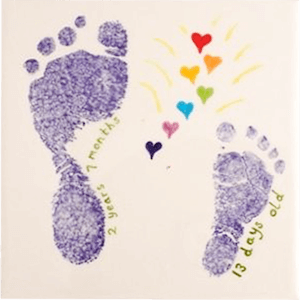 blue footprint tile